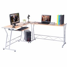 Goplus Modern L-shape Computer Desk Writing Work study Table PC and Laptop Desk Workstation Wood Home Office Furniture HW51816(China)