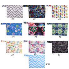 1PCs Waterproof Zip Wet Bag Menstrual Aunt Towel Pouch Reusable Storing Mama Cloth Sanitary Diaper Nappy Maternity Pad Print Bag