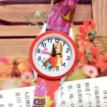 50PCS/LOT Small Order Barbii Children Quartz Watch Girls Printed Silicone Band Plastic Shell Cartoon Kids Jelly Wristwatches New(China)