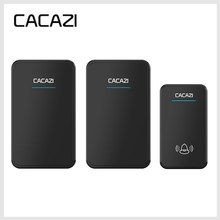 CACAZI wireless doorbell 1 waterproof doorbell button+2 EU plug-in receivers 300M remote door bell with 48 ringtones 6 volume(China)