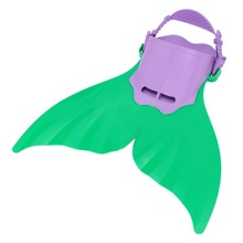 Adjustable Mermaid Monofin Flipper Wave Fins Kid Free Swimming Fins Training Shoes Diving Scuba Feet Tail Green and Purple Color
