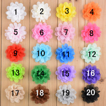 100pcs/lot Mini 2inch Chiffon Flower Headband Girl Hair Accessories scalloped shabby Flower 20colors