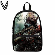 VEEVANV Fashion Battlefield Soldier Printing Canvas Backpack 3D Ghosts PC Games Call Of Dutys Schoolbag Travel Canvas Backpacks