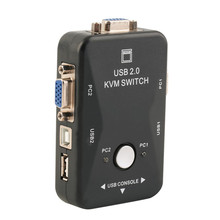 New arrival 2 Port VGA/SVGA KVM Switch Box PS/2 Devices for Share Video Mouse Keyboard Monitor
