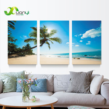 3 Panel Canvas Art  Seascape Painting Beach Coconut Tree Artwork Modern Home Wall Decor Canvas Picture Art Print Unframed PR1284