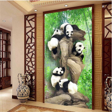 beibehang Large - scale custom wallpaper bamboo panda 3D stereo entrance background wall custom 3d photo wallpaper room mural