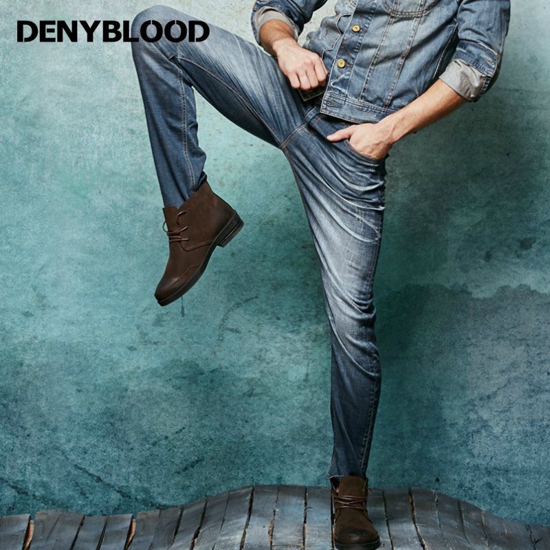 Denyblood Jeans 2017 Spring Mens Stretch Denim Jeans Slim Straight Distressed Jeans Ripped Europeans Style Casual Pants 147059Îäåæäà è àêñåññóàðû<br><br>