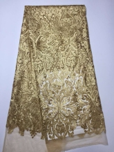 Gold African French Lace Fabric High Quality Nigeria French Net Lace 2016 With Embroidery For Women Dress