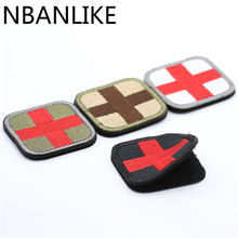 1Pcs HOT Original Color Red Cross Medical Assistant 3D Embroidery Patch Armband Tactical Gear Props Cloth Patches 5*5cm(China)