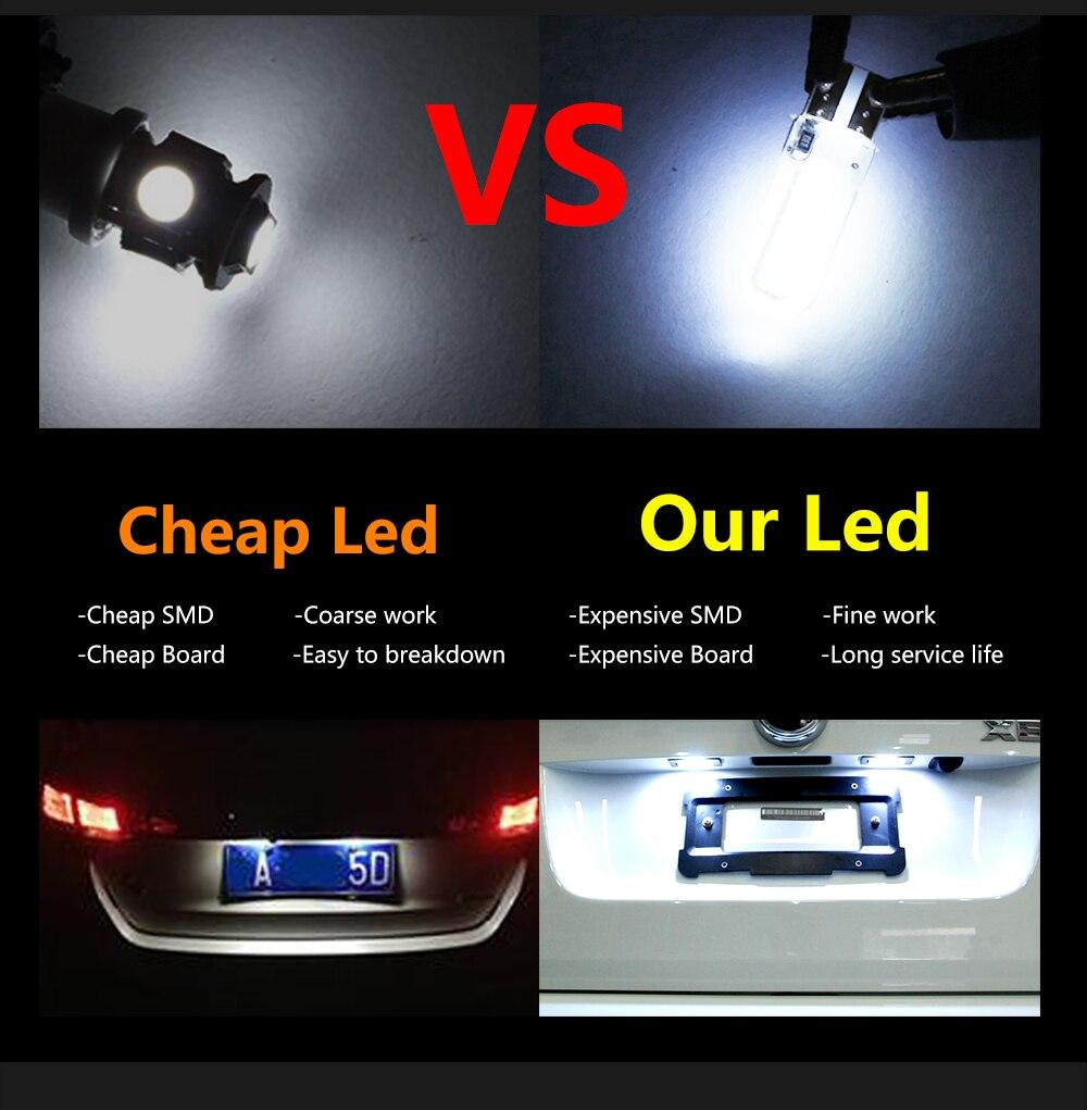 10PCS T10 158 194 168 W5W COB 20 smd Silica Gel Led Car Interior Door Light Bulb
