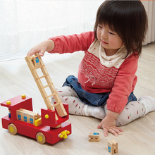 2017 Cars Oyuncak Baby Forest Fire Truck Toys Ladder Children Educational Japanese Wooden Toy Drag Scene Boy Gift For Birthday(China)