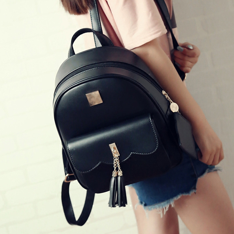 High Quality PU Leather Backpack School travel bag backpack Female Fashion Girls Bags Ladies Black Backpack  Simple Tassel bag <br><br>Aliexpress