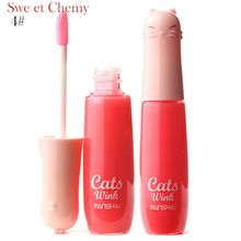 12 Colors Women's Charm Make Up Lip Gloss Cartoon Cat Lid Liquid Lip Tint Cosmetics E4