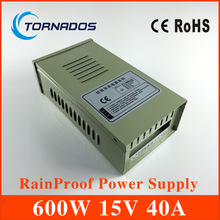 Transformer 15v 40a 600w external in42patients module with lights rainproof switching power supply led power supply FY-600-15(China)