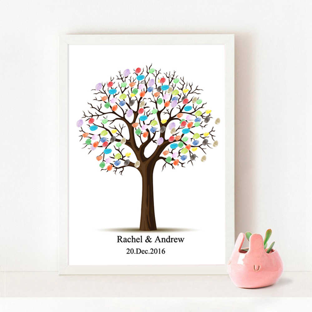 Free Custom Name Date Canvas Print Wedding Tree,Fingerprint DIY Signature Guest Book For Wedding Decoration,Wedding Gift HK051