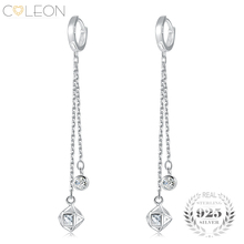 Buy Coleon Real 925 Silver Drop Earrings Long Chain Cubic Charm Round Zircon Dangle Earring Party Sterling Silver Jewelry Women for $23.61 in AliExpress store