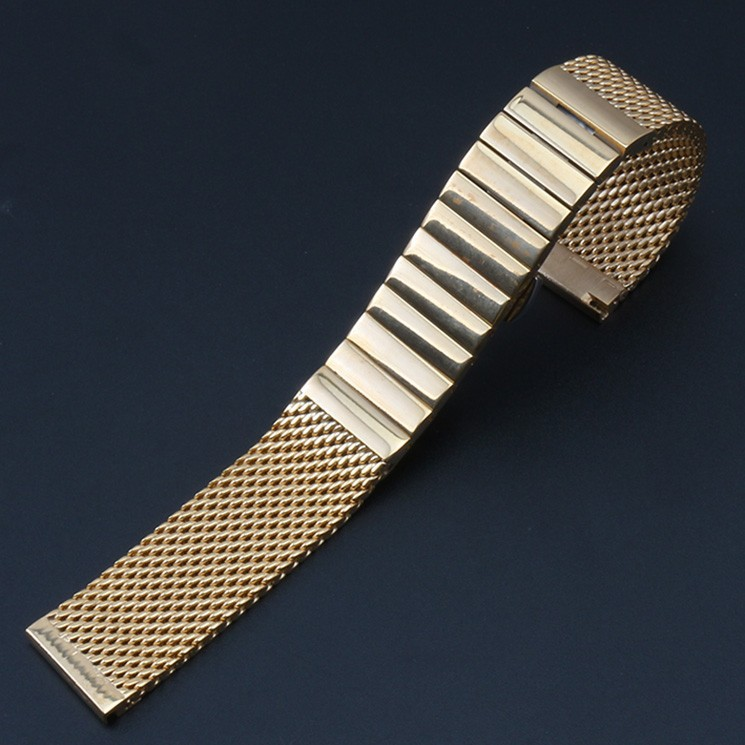 New High Quality Bracelet gold Silver Black 20mm Stainless Steel watchband Mesh Band Wrist Watch Strap Push Button Straight end<br>