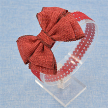 Hot Sale Handmade flax Bow Lace Headband headwear Fashion Lace Hairband With Hair Bow Kids Boutique Hair Accessories(China)
