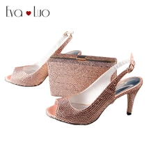 BS013  Handmade Peach Crystal Italian Shoes And Matching Bag Set Slingbacks Dress Pumps Bridal Women Wedding Shoes Big Size