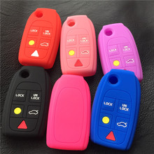 Silicone Rubber car Key Case Cover for Volvo S80 S60 V70 XC70 XC90 D05 Folding Flip Remote 5 button key