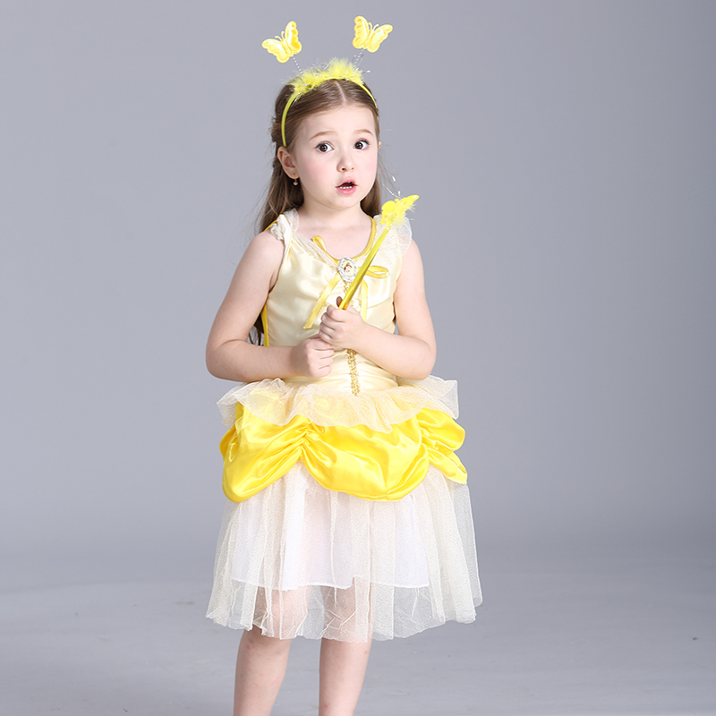 Children Girl Yellow Fairy Girl Dress Halloween Costumes Dresses Girls High Quality Sleeveless Girl Ball Gown Princess Dress <br><br>Aliexpress