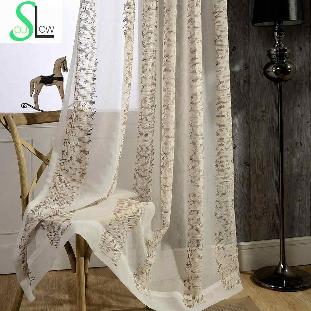 Flower Yarn Cotton Embroidery Curtain  Embroidered French Window Curtains Cortinas For Living Room Tulle Modern Sheer Bedroom