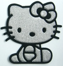 FREE SHIPPING ~ Silvery  Black Hello Kitty Iron On Patch Cloth Shirt Hat Jean shoes Jacket Pet Clothing Gifts