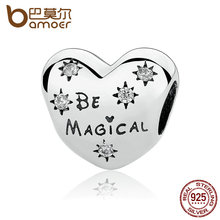 BAMOER Celebration Gift 925 Sterling Silver Be Magical Heart Beads Charms fit Bracelets for Women SilverJewelry PAS320