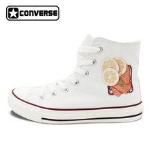 Men Women's Converse All Star Shoes High Top Lace Up Flats Design Five Food Recipes on White Canvas Sneakers Gifts