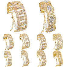 F&U New 13 style Gold Color Austrian crystal brand jewelry chain rhinestone bracelet women wedding Jewelry