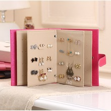 New Earrings Collection Books Style Jewel Case PU Leather Stud Book Pattern Portable Women Jewelry Display Jewellery Storage Box(China)
