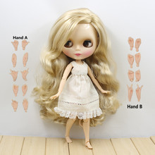 280BL3715, long blond hair, wavy hair, with joint body joint doll, side parting, 1/6 doll, 30cm(China)