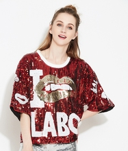 New Bling Stage DS Singer Performance Clothing Hip-Hop Street Dance Sequin Pullover Oversized Sequin T-Shirt Women Mesh Top