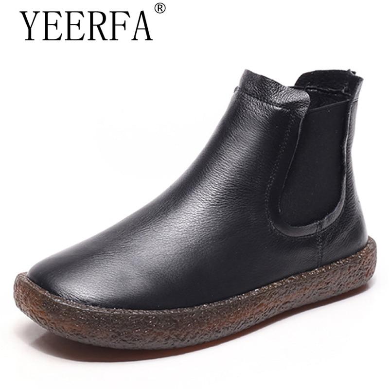 Genuine Leather Women Short Boots Chelsea Flower Plush Flat Heels Handmade Vintage Ankle Boots Female 2018 Winter Big Size 34-43<br>