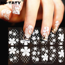 Nu-TATY White Lace Art Nail Sticker 16 Model 12pcs/set Decals Summer style makeup gel polish beauty tools french manicure(China)