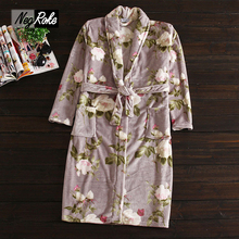 Hot sale Winter Fashion women robes coral fleece polyester lovers couples flowers printing Bathrobes for women home robes(China)
