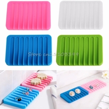 New Silicon Kitchen Bathroom Flexible Soap Dish Plate Holder Tray Soapbox #G205M# Best Quality
