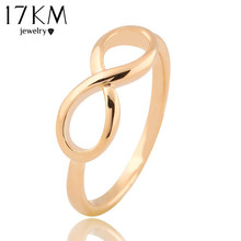 17KM New Fashion Gold Color Cross infinity Ring Statement jewelry Banquet Party Accessories Wholesale for women(China)