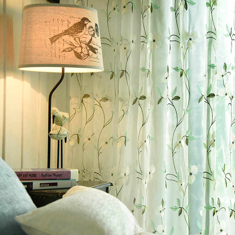 Floral Embroidered Tulle Curtains for Living Room Kitchen Pastoral Sheer Curtains for The Bedroom Window Curtain Fabric Drapes