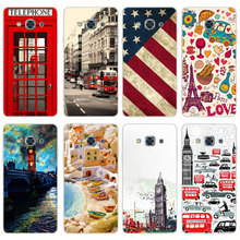 G572 Telephone Box Flag Transparent PC Hard Case Cover For Samsung Galaxy J 3 5 7 A 3 5 7 2015 2016 GRAND 2 PRIME