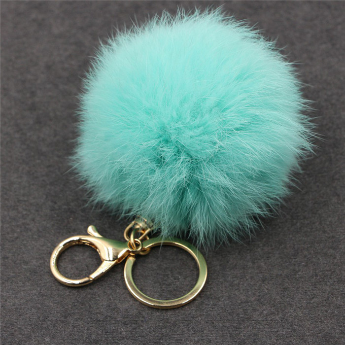 8CM Fluffy Pompom Real Rabbit Fur Ball Key Chain Women Trinket Pompon Hare Fur Toy keyring Bag Charms Ring Keychain Wedding Gift (19)