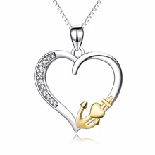 New 100% Real Pure 925 Sterling Silver Hollow Love Heart Pendant Gold Color Anchor Necklace Fashion Jewelry For Women PYX0180
