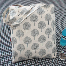 YILE Handmade Cotton Linen Eco Reusable Shoulder Bag Shopping Tote Fortune Trees White JR4