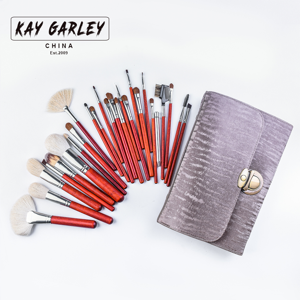 KAY GARLEY 26piece professional makeup brush kit animal hair syntehtic hair red handle conveniently portable make up brush set<br>