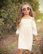 New Cute Girls Lace Dress Puff Sleeve Party Sundress Halter Embroider Ruffles White Dress Children Fashion Dress