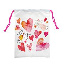4pcs/lot various heart shape printed custom valentine drawstring bag foldable cloth shoes towel polyester travel storage bag