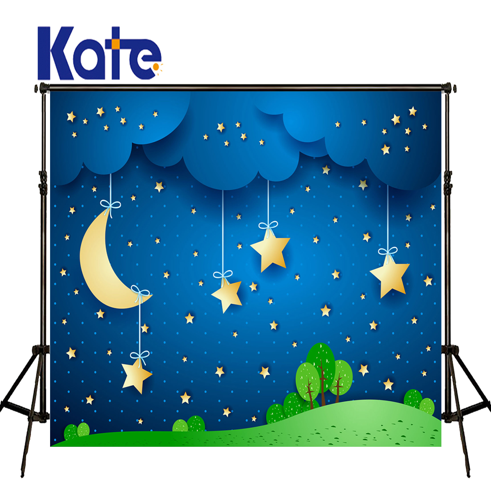 KATE Photo Background Blue 5x7ft Curtain Background Cartoon Moon Background Children Tapestry Background Baby Shower Backdrop<br>