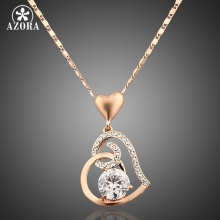 AZORA Rose Gold Color Stellux Crystals Heart Pendant Necklace for Valentine's Day Gift of Love TN0009