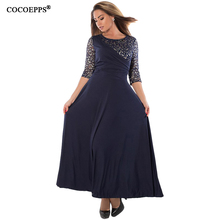 Buy COCOEPPS autumn plus size women dresses sexy lace dress big sizes patchwork long dress 2018 black women clothing 5xl 6xl vestido for $22.98 in AliExpress store