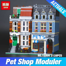 LEPIN 15009 City Street set Pet Shop Model Building Kits Blocks action bricks baby lovely toy 10218DIY Educational Gift for Girl(China)